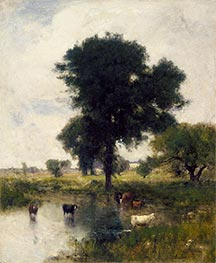 George Inness | Cattle in Pool (A Summer Landscape), 1880 | Giclée Canvas Print