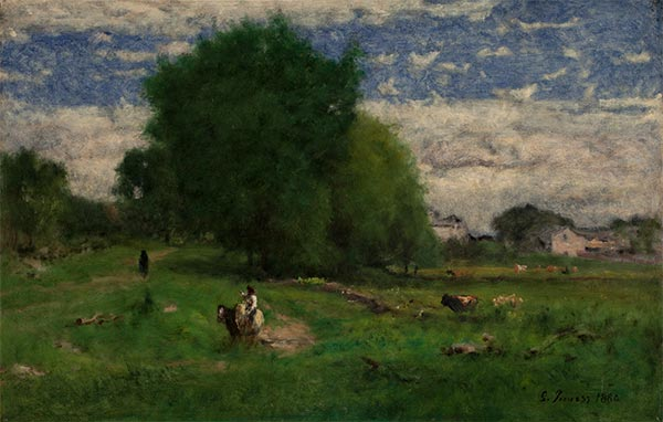 The Road to the Village, Milton, 1880 | George Inness | Painting Reproduction