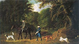 George Stubbs | Lord Torrington's Steward and Gamekeeper with Their Dogs at Southill Bedfordshire | Giclée Canvas Print