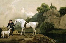 George Stubbs | A Grey Hunter with a Groom and a Greyhound at Creswell Crags | Giclée Canvas Print