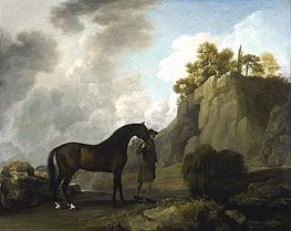 George Stubbs | The Marquess of Rockingham's Arabian Stallion (led by a Groom at Creswell Crags) | Giclée Canvas Print