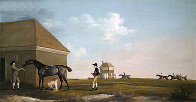 Gimcrack on Newmarket Heath with a Trainer, a Stable-Lad and a Jockey, 1765 | George Stubbs | Giclée Canvas Print