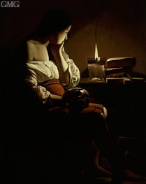 Georges de La Tour | Magdalen with the Smoking Flame, c.1640 | Giclée Canvas Print
