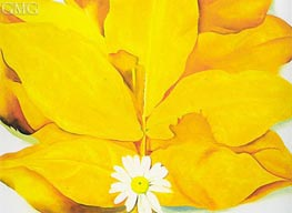 O'Keeffe | Yellow Hickory Leaves with Daisy | Giclée Canvas Print