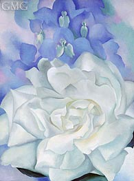 O'Keeffe | White Rose with Larkspur II, 1927 | Giclée Canvas Print