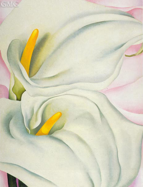 Two Calla Lilies on Pink, 1928 | O'Keeffe | Painting Reproduction