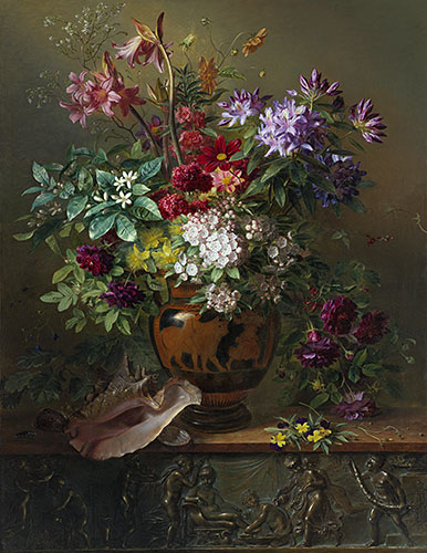 Still Life with Flowers in a Greek Vase: Allegory of Spring, 1817 | Georgius van Os | Giclée Canvas Print