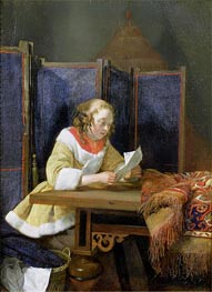 Gerard ter Borch | A Lady Reading a Letter, early 1660 | Giclée Canvas Print