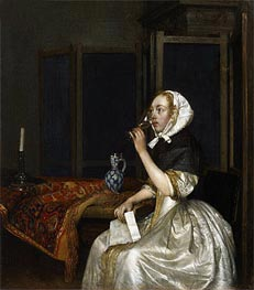 Gerard ter Borch | Young Woman with a Glass of Vine,  Holding a Letter in her Hand | Giclée Canvas Print