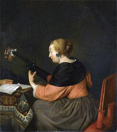 Gerard ter Borch | A Lady Seated at a Table Playing a Lute | Giclée Canvas Print