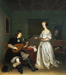 Gerard ter Borch | The Duet: Singer and Theorbo-Player, 1669 | Giclée Canvas Print