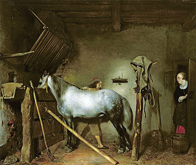 Horse Stable, c.1652/54  | Gerard ter Borch | Giclée Canvas Print