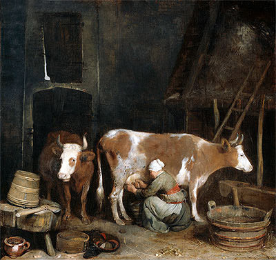 A Maid Milking a Cow in a Barn, c.1652/54  | Gerard ter Borch | Giclée Canvas Print