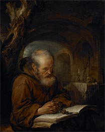 Gerrit Dou | A Hermit Praying, 1670 | Giclée Canvas Print