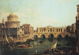 Canaletto | Capriccio of the Grand Canal with an Imaginary Rialto Bridge | Giclée Canvas Print