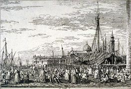 Canaletto   The Market on the Molo   Giclée Paper Print