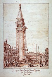 Canaletto   Piazzetta with Campanile under Construction   Giclée Paper Print