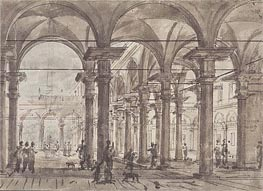 Canaletto | Architectural Design (Piazza with Open Colonnade) | Giclée Paper Print