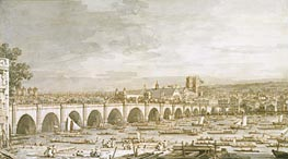Canaletto | Westminster Bridge, London, with a Procession of Civic Barges | Giclée Paper Print