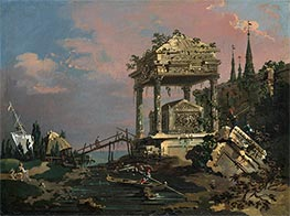 Canaletto | Imaginary View with a Tomb by the Lagoon, c.1740/45 | Giclée Canvas Print
