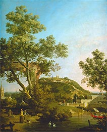 Canaletto | English Landscape Capriccio with a Palace, c.1754 | Giclée Canvas Print