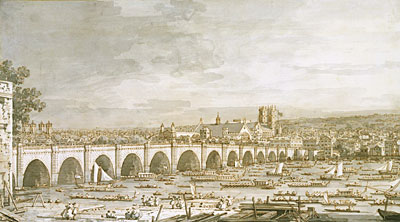 Westminster Bridge, London, with a Procession of Civic Barges, c.1747 | Canaletto | Giclée Paper Print