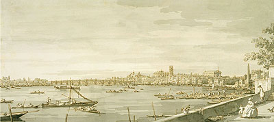 London: A View of Westminster from the Terrace of Somerset House, c.1750 | Canaletto | Painting Reproduction