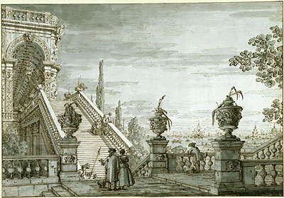 A Capriccio with a Monumental Staircase, c.1755/60 | Canaletto | Giclée Paper Print