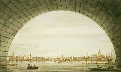 London: The City Seen through an Arch of Westminster Bridge, c.1750 | Canaletto | Giclée Paper Print