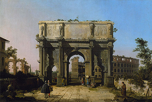View of the Arch of Constantine with the Colosseum, c.1742/45 | Canaletto | Giclée Canvas Print