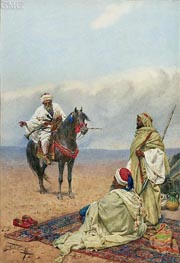 Giulio Rosati | A Horseman Stopping at a Bedouin Camp, undated | Giclée Paper Print