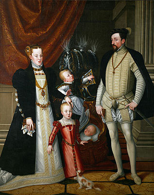 Emperor Maximilian II, His Wife Maria of Spain and His Children Anna, Rudolf and Ernst, 1553 | Arcimboldo | Giclée Canvas Print