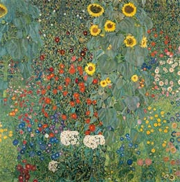 Klimt | Farm Garden with Sunflowers | Giclée Canvas Print