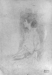 Klimt | Seated Girl in Shadow, Undated | Giclée Paper Print