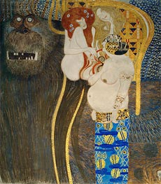 Klimt | Detail from The Hostile Powers (The Beethoven Frieze), 1902 | Giclée Canvas Print