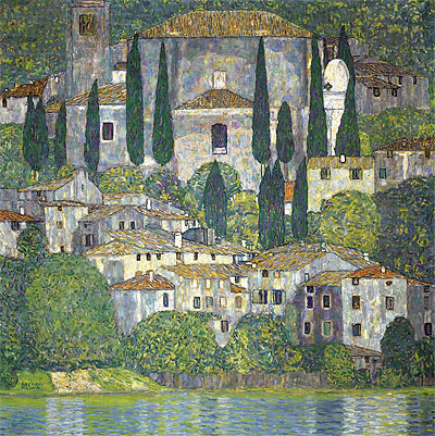 Church in Cassone (Landscape with Cypresses), 1913 | Klimt | Painting Reproduction