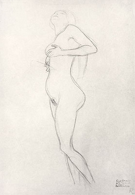 Standing Nude Girl Looking Up, Undated | Klimt | Giclée Paper Print