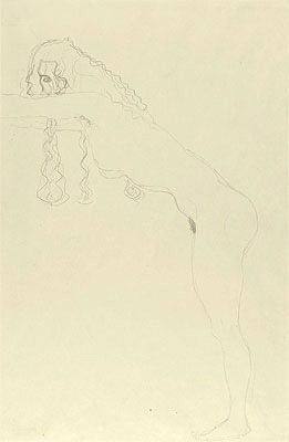 Nude with Long Hair and Forward Leaning Torso, c.1907 | Klimt | Giclée Paper Print