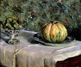 Caillebotte   Melon and Fruit Bowl with Figs, c.1880/82   Giclée Canvas Print