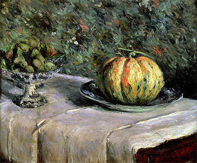 Melon and Fruit Bowl with Figs, c.1880/82 | Caillebotte | Painting Reproduction