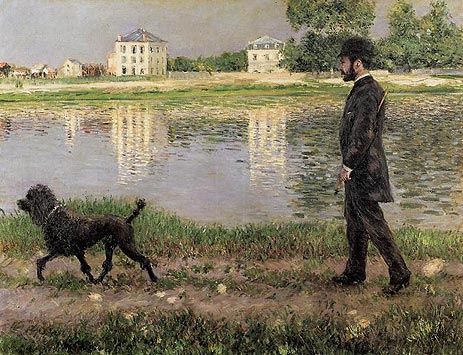 Richard Gallo and His Dog, at Petit Gennevilliers, 1884 | Caillebotte | Giclée Canvas Print
