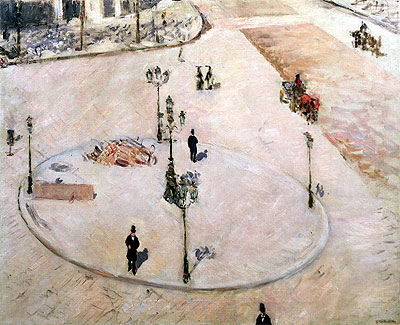 Traffic Island on Boulevard Haussmann, 1880 | Caillebotte | Giclée Canvas Print