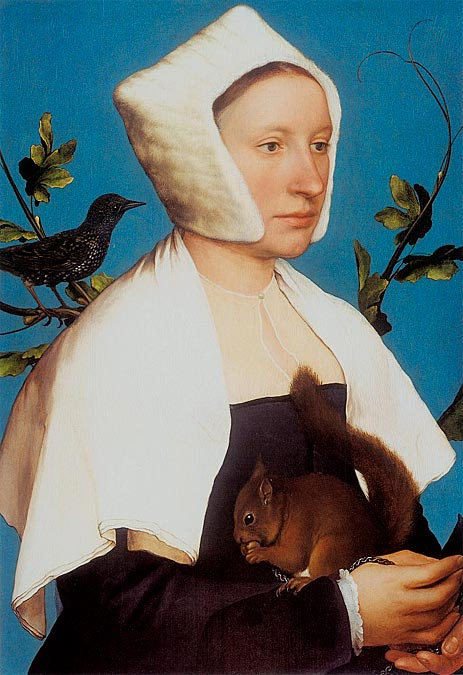 Portrait of a Lady with a Squirrel and a Starling, c.1527/28 | Hans Holbein | Giclée Canvas Print