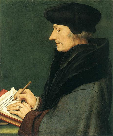 Portrait of Erasmus of Rotterdam Writing, 1523 | Hans Holbein | Giclée Canvas Print