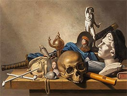 Harmen Steenwijck | A Vanitas Still Life with a Bust, a standing Sculpture and  Skull | Giclée Canvas Print