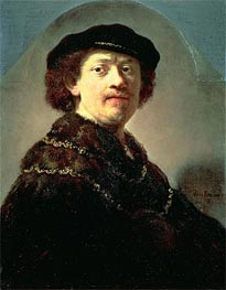 Rembrandt | Self-Portrait in a Black Cap, 1637 | Giclée Canvas Print