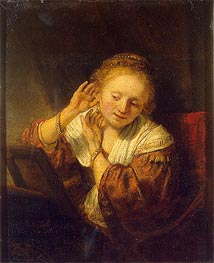 Rembrandt | Young Woman with Earrings, 1657 | Giclée Canvas Print