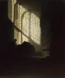 Rembrandt | A Man Seated Reading at a Table in a Lofty Room | Giclée Canvas Print