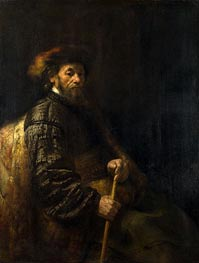 Rembrandt | A Seated Man with a Stick, Undated | Giclée Canvas Print