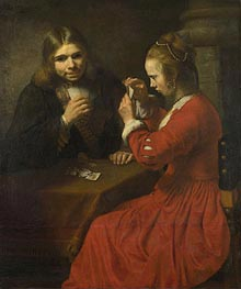 Rembrandt | A Young Man and a Girl playing Cards, c.1645/50 | Giclée Canvas Print